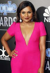 Mindy Kaling - Cleavage Bearing Pink Dress At People Magazine Awards
